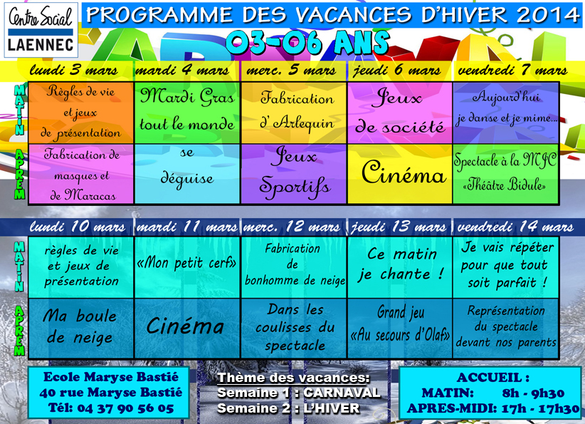 Vacances d'Hiver - centre social laënnec
